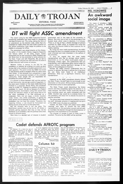Daily Trojan, Vol. 60, No. 80, February 28, 1969