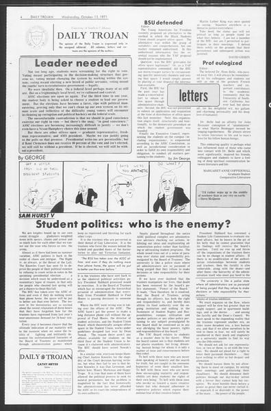Daily Trojan, Vol. 64, No. 16, October 13, 1971