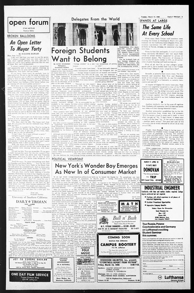 Daily Trojan, Vol. 57, No. 87, March 15, 1966