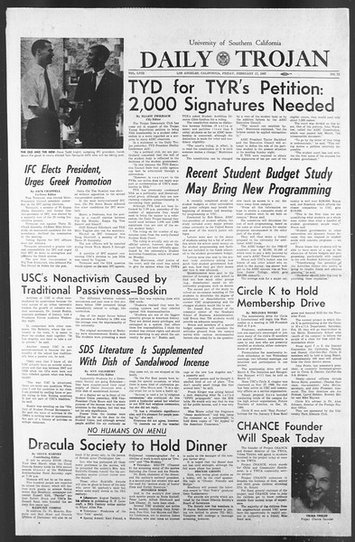 Daily Trojan, Vol. 58, No. 73, February 17, 1967