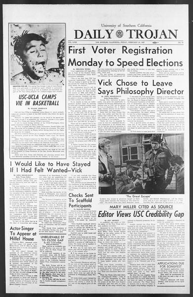 Daily Trojan, Vol. 58, No. 78, February 24, 1967