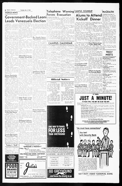 Daily Trojan, Vol. 55, No. 47, December 03, 1963