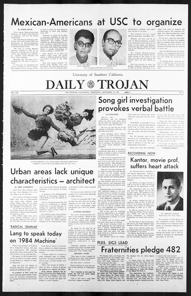 Daily Trojan, Vol. 59, No. 8, September 27, 1967