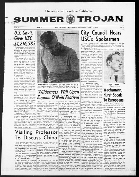 Summer Trojan, Vol. 15, No. 9, July 21, 1965