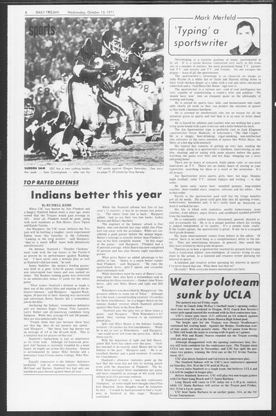 Daily Trojan, Vol. 64, No. 16, October 13, 1971