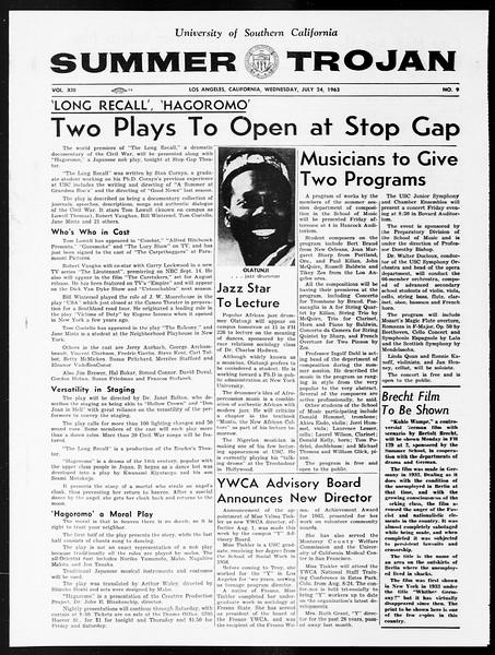 Summer Trojan, Vol. 13, No. 9, July 24, 1963