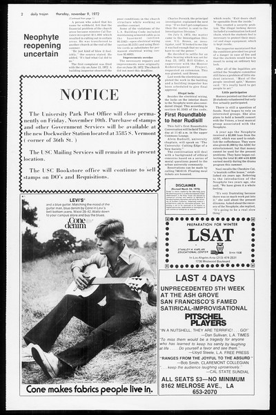 Daily Trojan, Vol. 65, No. 36, November 09, 1972