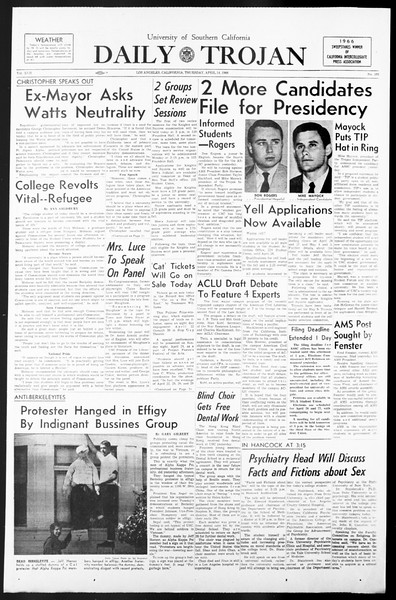 Daily Trojan, Vol. 57, No. 101, April 14, 1966