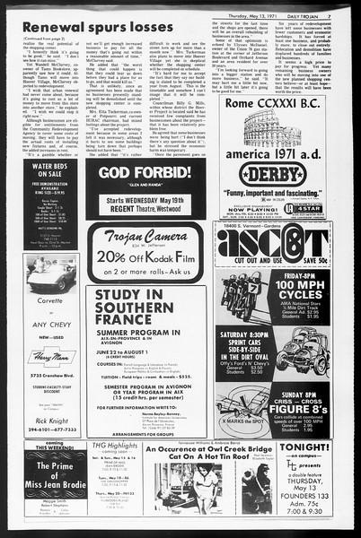 Daily Trojan, Vol. 62, No. 122, May 13, 1971