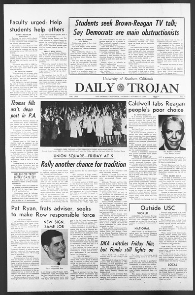 Daily Trojan, Vol. 58, No. 19, October 13, 1966