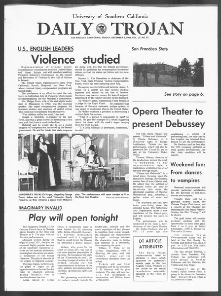 Daily Trojan, Vol. 60, No. 52, December 06, 1968