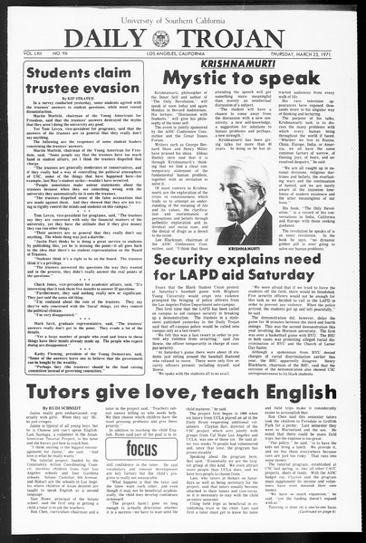 Daily Trojan, Vol. 62, No. 96, March 25, 1971