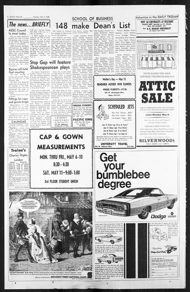 Daily Trojan, Vol. 59, No. 120, May 07, 1968