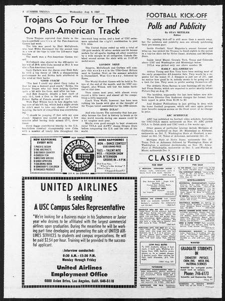Summer Trojan, Vol. 18, No. 12, August 09, 1967