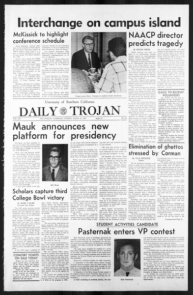 Daily Trojan, Vol. 59, No. 88, March 12, 1968