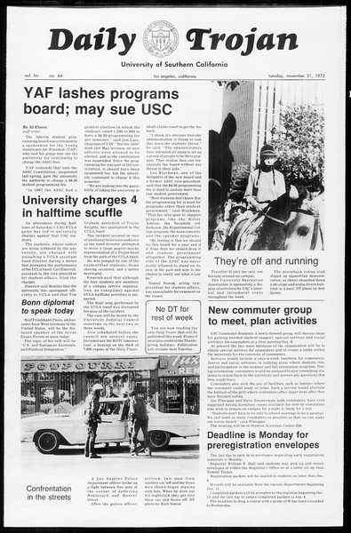 Daily Trojan, Vol. 65, No. 44, November 21, 1972
