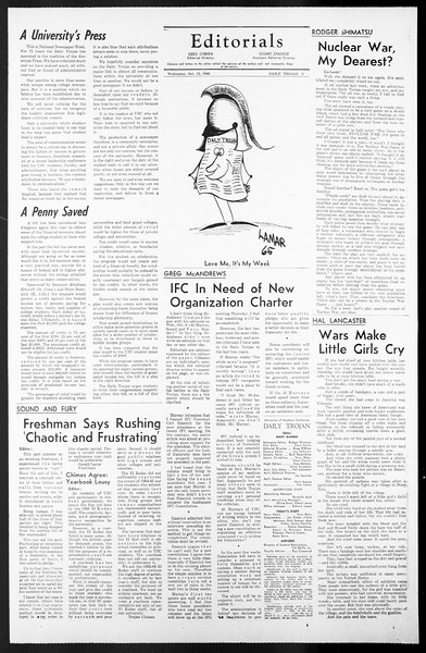 Daily Trojan, Vol. 57, No. 18, October 13, 1965
