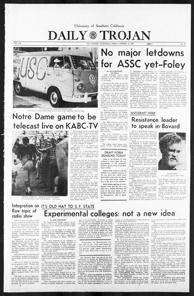 Daily Trojan, Vol. 59, No. 20, October 13, 1967