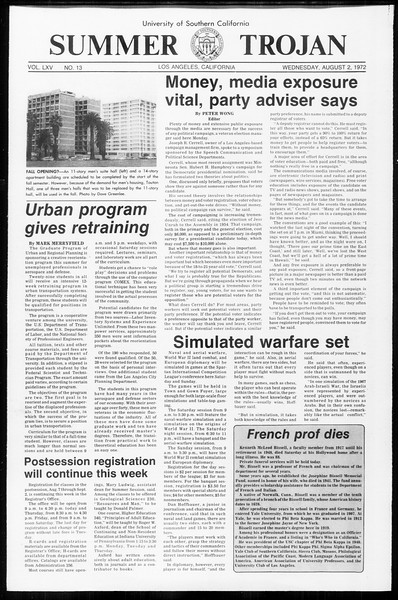 Summer Trojan, Vol. 65, No. 13, August 02, 1972