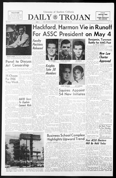 Daily Trojan, Vol. 57, No. 111, April 28, 1966