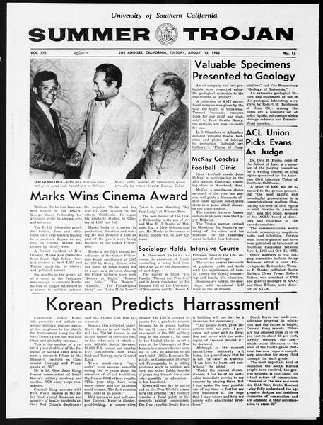 Summer Trojan, Vol. 13, No. 12, August 13, 1963