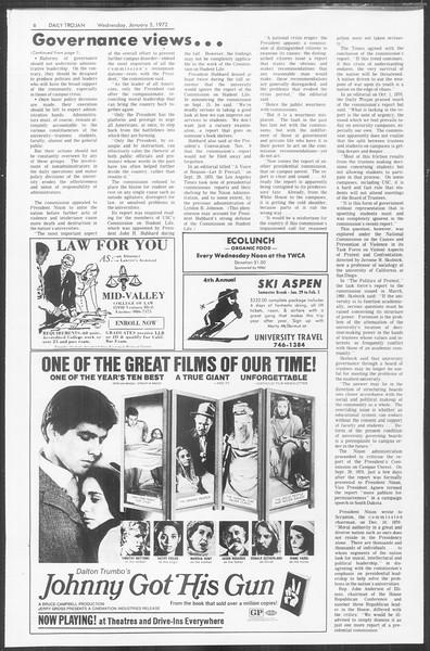Daily Trojan, Vol. 64, No. 57, January 05, 1972
