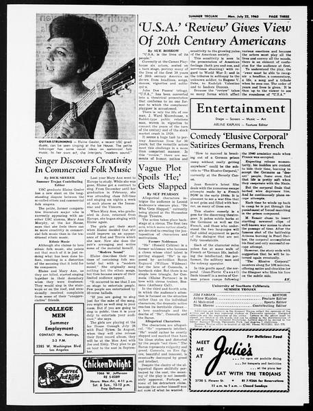 Summer Trojan, Vol. 13, No. 8, July 22, 1963