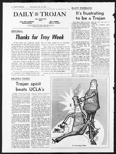 Daily Trojan, Vol. 59, No. 41, November 15, 1967
