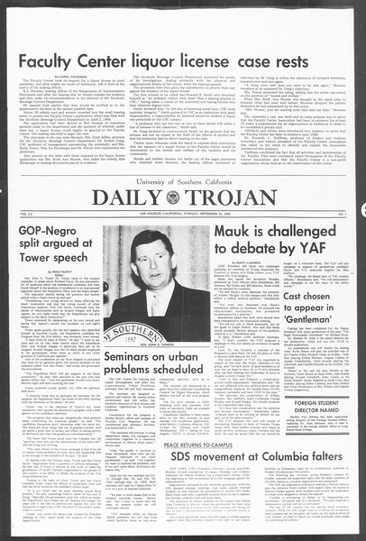 Daily Trojan, Vol. 60, No. 7, September 24, 1968