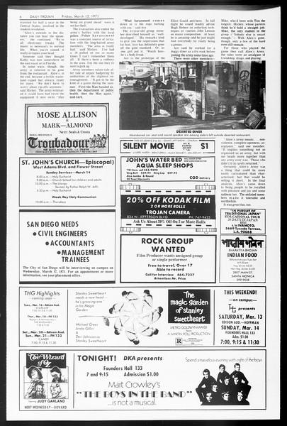 Daily Trojan, Vol. 62, No. 87, March 12, 1971