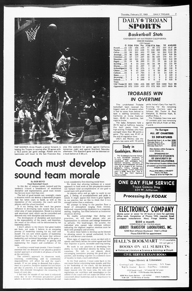 Daily Trojan, Vol. 60, No. 79, February 27, 1969