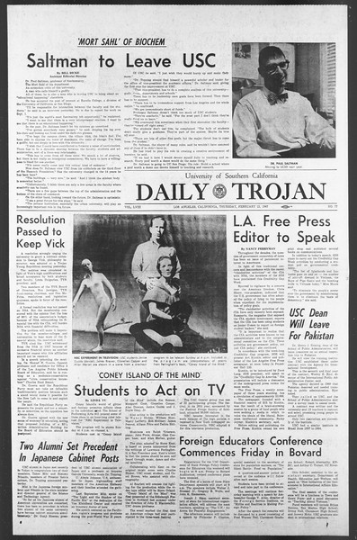 Daily Trojan, Vol. 58, No. 77, February 23, 1967