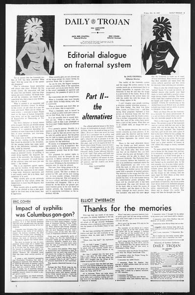 Daily Trojan, Vol. 59, No. 20, October 13, 1967