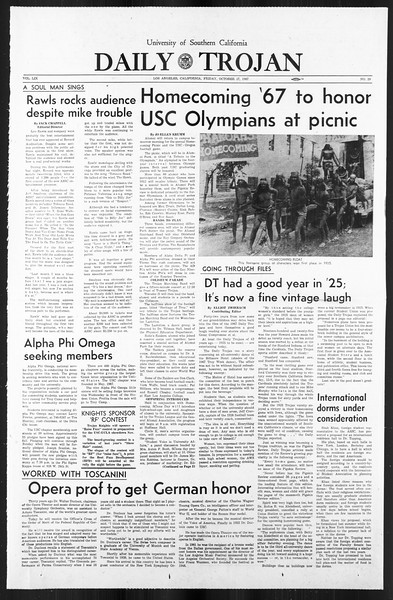 Daily Trojan, Vol. 59, No. 29, October 27, 1967