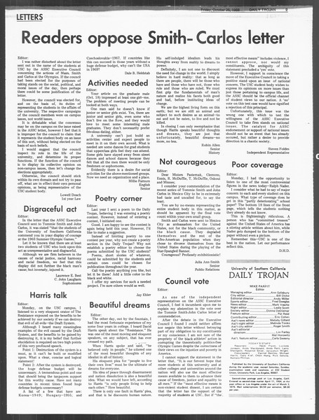 Daily Trojan, Vol. 60, No. 27, October 25, 1968