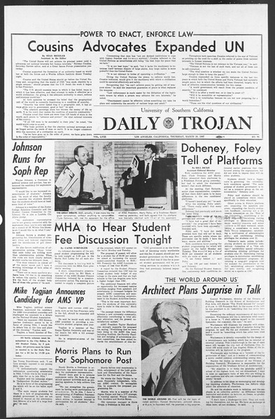 Daily Trojan, Vol. 58, No. 95, March 30, 1967