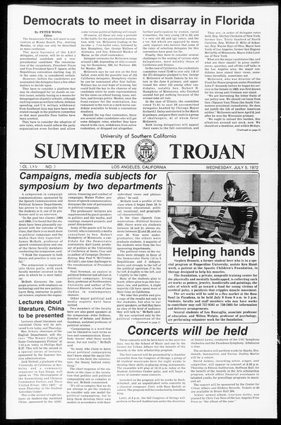 Summer Trojan, Vol. 65, No. 7, July 05, 1972