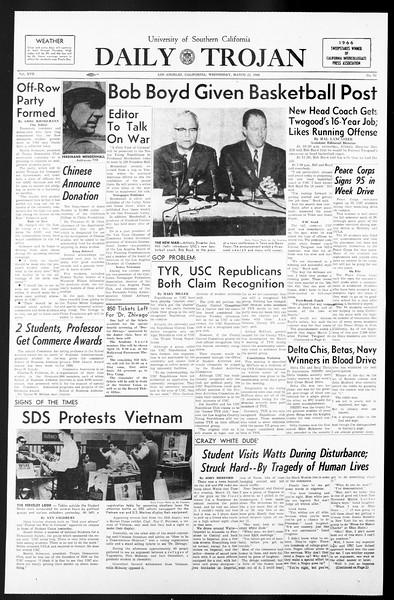 Daily Trojan, Vol. 57, No. 92, March 23, 1966