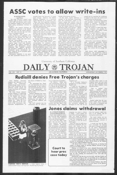Daily Trojan, Vol. 64, No. 12, October 06, 1971