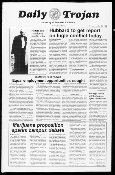 Daily Trojan, Vol. 65, No. 26, October 26, 1972
