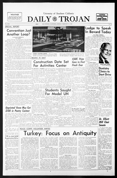 Daily Trojan, Vol. 57, No. 67, February 14, 1966