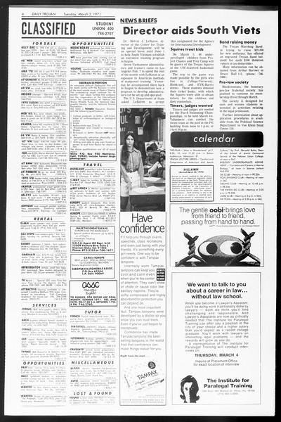 Daily Trojan, Vol. 62, No. 79, March 02, 1971