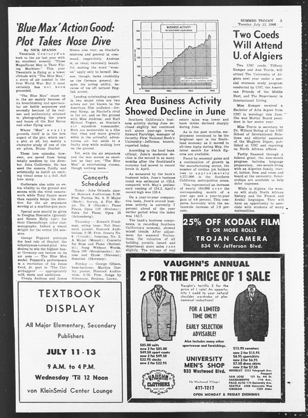 Summer Trojan, Vol. 17, No. 6, July 12, 1966