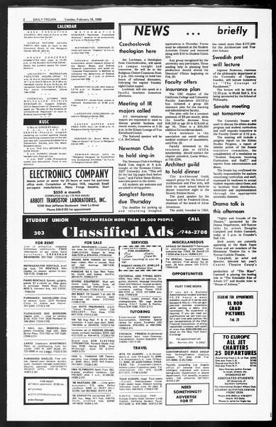 Daily Trojan, Vol. 60, No. 72, February 18, 1969