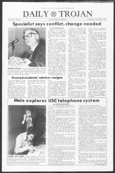 Daily Trojan, Vol. 64, No. 58, January 06, 1972