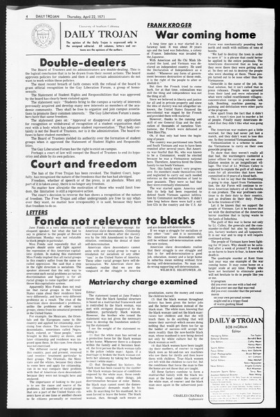 Daily Trojan, Vol. 62, No. 108, April 22, 1971