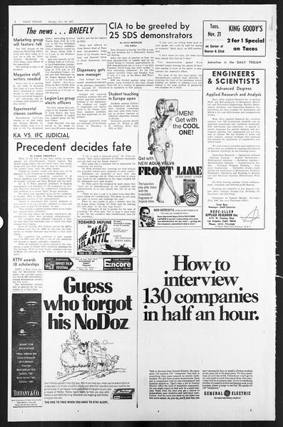 Daily Trojan, Vol. 59, No. 44, November 20, 1967