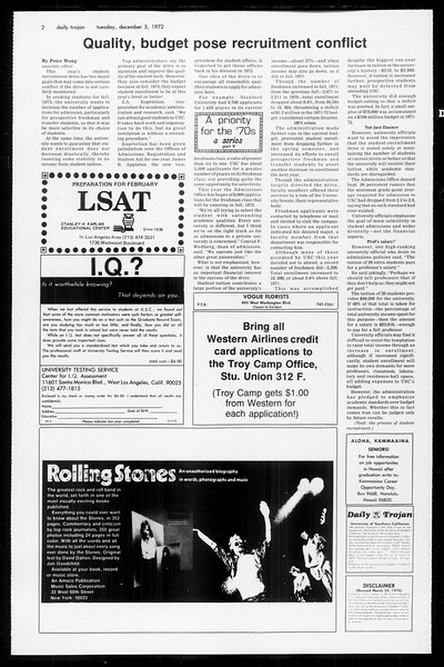 Daily Trojan, Vol. 65, No. 50, December 05, 1972