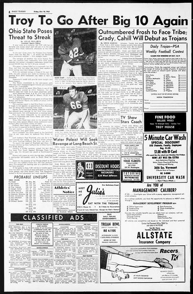 Daily Trojan, Vol. 55, No. 20, October 18, 1963