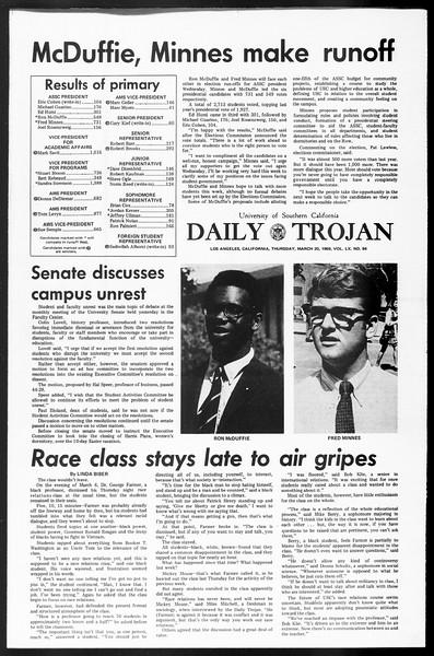 Daily Trojan, Vol. 60, No. 94, March 20, 1969